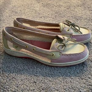 Sperry women's boat shoes,size 7.5, pink/white/tan